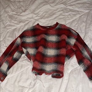 red plaid sweater